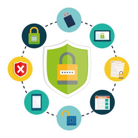 privacidad: La privacidad y la seguridad del sistema de iconos gráficos de diseño, ilustración vectorial Vectores