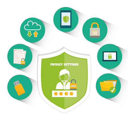 security symbol: Privacy and security system graphic icons design, vector illustration Illustration