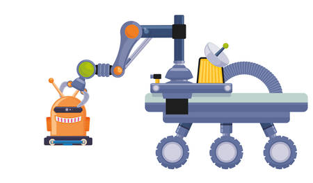 cybernetics: Robot concept and technology design, vector illustration 10 eps graphic.