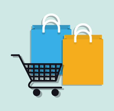 shopping bags: Digital marketing and online sales graphic design, vector illustration