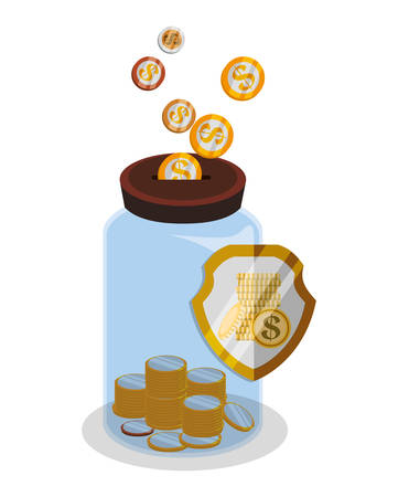 abundance: Bank and money savings graphic icons design, vector illustration eps10
