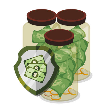 abundance of money: Bank and money savings graphic icons design, vector illustration eps10