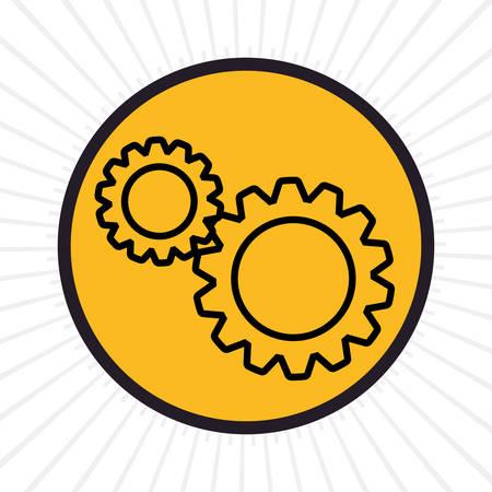 inline: Gears inline icon graphic design, vector illustration