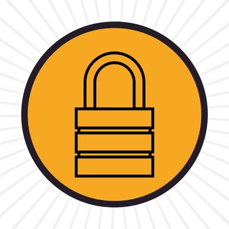 inline: Security padlock inline icon graphic design, vector illustration Illustration