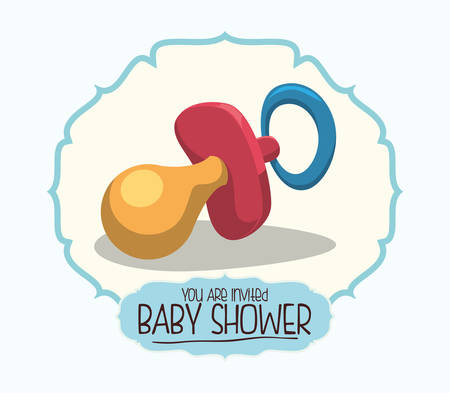 invite congratulate: Baby shower invitation card graphic design, vector illustration Illustration