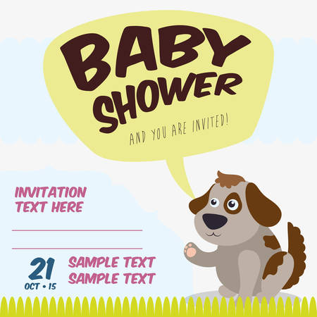 cartoons sweet: Baby shower invitation card graphic design, vector illustration Illustration