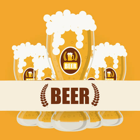 fresh brewed: Beer concept with icons design, vector illustration   Illustration