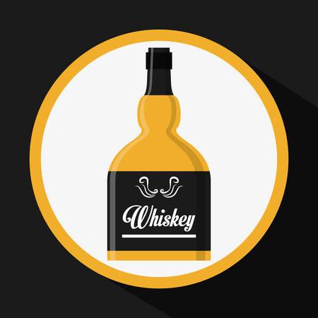 bourbon whisky: Whiskey concept with bottle design, vector illustration