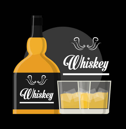bourbon whisky: Whiskey concept with bottle design, vector illustration  Illustration