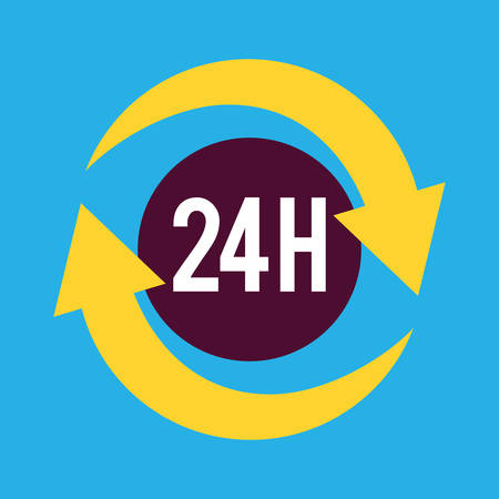 twenty four hours: Twenty four hours service icon design, vector illustration eps10 Illustration