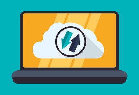 web services: Web hosting and cloud computing icon graphic design, vector illustration