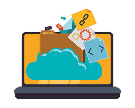 web service: Web hosting and cloud computing icon graphic design, vector illustration