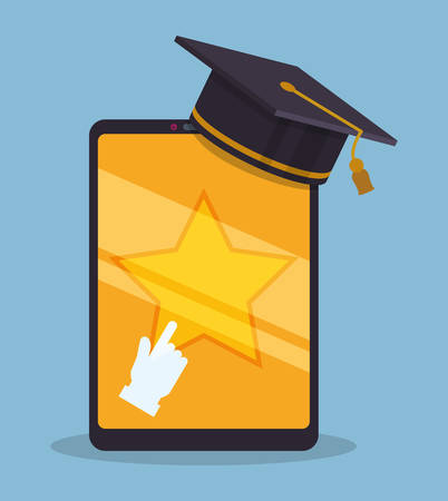 graduation hat: Education online or elearning theme design, vector illustration graphic