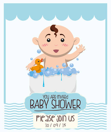 ducky: Baby shower invitation card graphic design, vector illustration Illustration