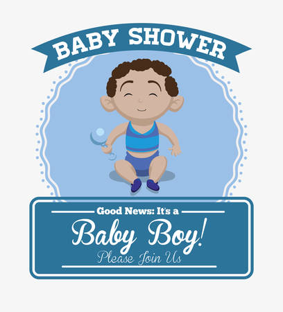baby boy announcement: Baby shower invitation card graphic design, vector illustration Illustration