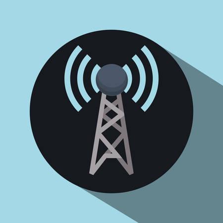 satellite transmitter: antenna concept over circle design, vector illustration 10 eps graphic.