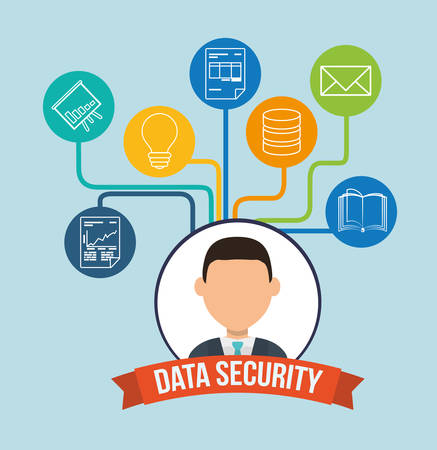 risky: data security concept with system icons design, vector illustration 10 eps graphic. Illustration