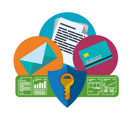 value system: data security concept with system icons design, vector illustration 10 eps graphic. Illustration