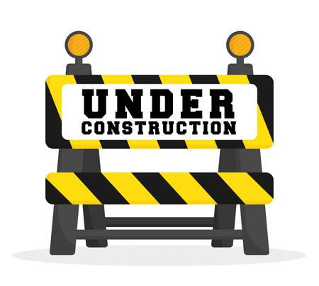 construction barrier: Under construction barrier design, vector illustration