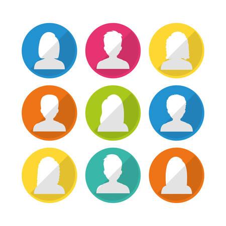 profil: Ludzie profilu graficznego projektu, ilustracji wektorowych