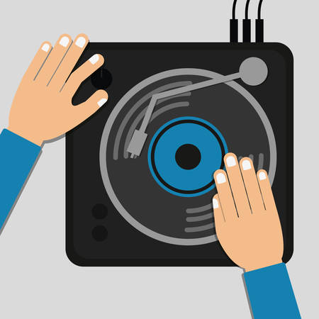 electronic music: DJ electronic music party graphic design, vector illustration