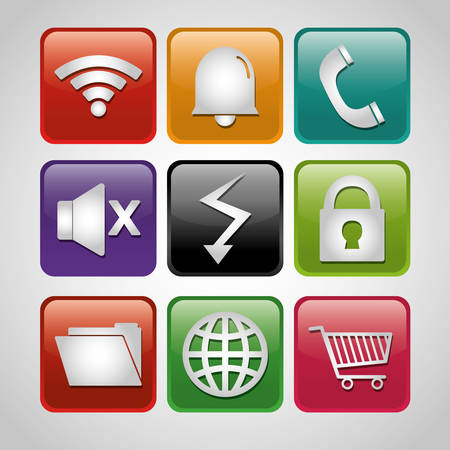 widget: Mobile technology applications graphic icons, vector illustration design