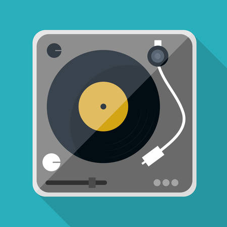 dj turntable: Music technology equipment graphic design, vector illustration  Illustration