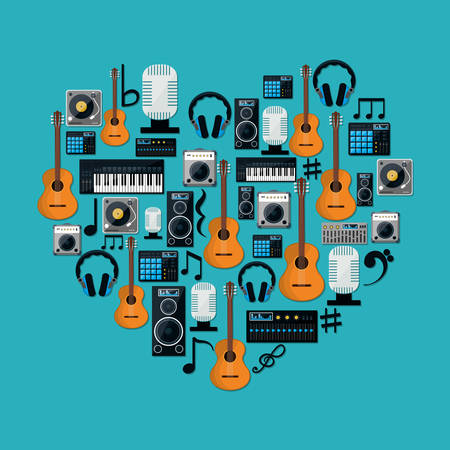 digital music: Music technology equipment graphic design, vector illustration  Illustration