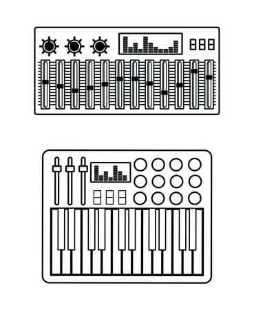 mixing console: Music technology equipment graphic design, vector illustration  Illustration