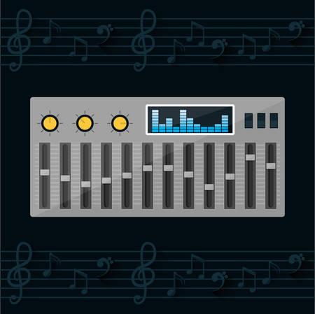 pentagramma musicale: Apparecchiature di tecnologia Musica graphic design, illustrazione vettoriale