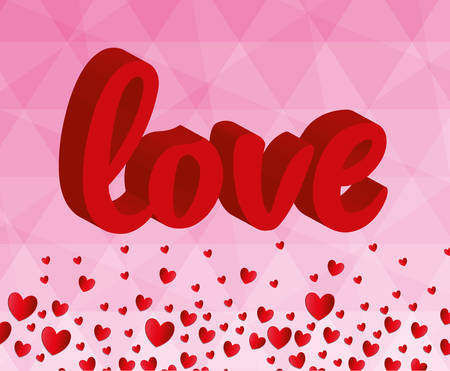 romanticism: Happy valentines day colorful card design, vector illustration
