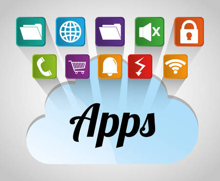 mobile applications: Multimedia mobile applications graphic design, vector illustration