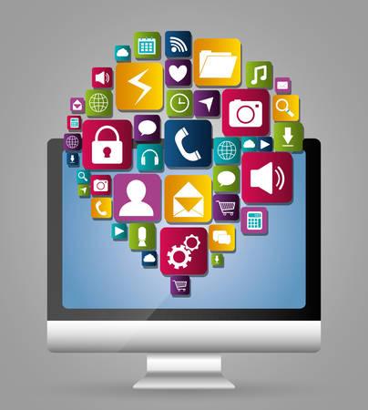multimedia: Multimedia mobile applications graphic design, vector illustration