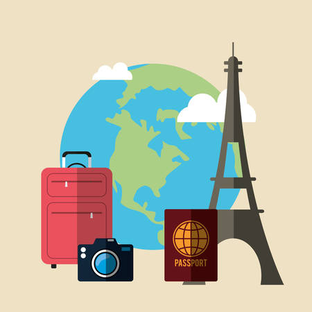 tower: Summer, vacations and travel graphic design with icons, vector illustration