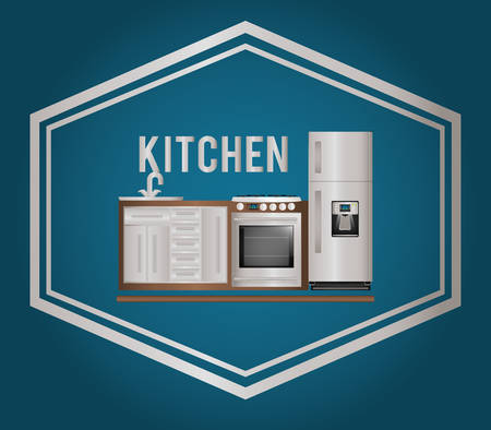 luxury condo: kitchen concept with house appliances icons design, vector illustration 10 eps graphic.