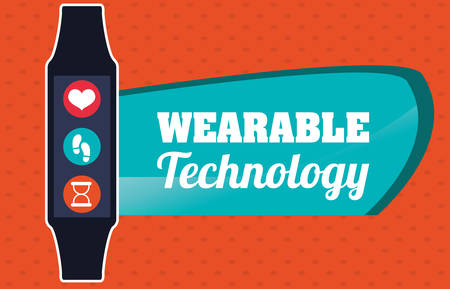 media network: Wearable technology concept with gadget design Illustration