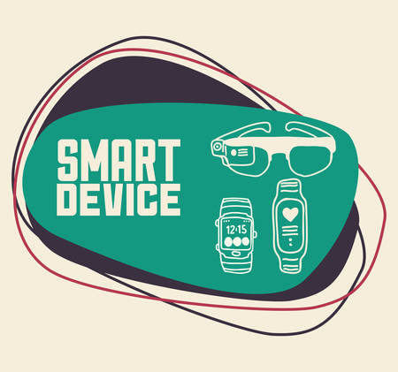 gadget: Wearable technology concept with gadget design Illustration