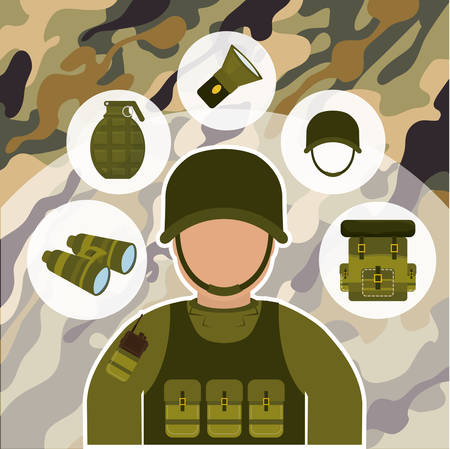 british army: Armed forces concept  with military icons design, vector illustration 10 eps graphic.