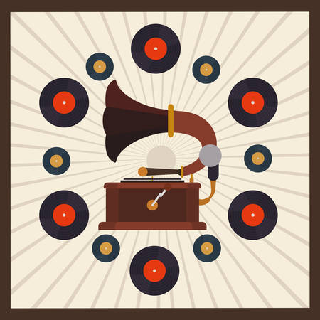 gramaphone: Retro concept with technology icons design, vector illustration   graphic.