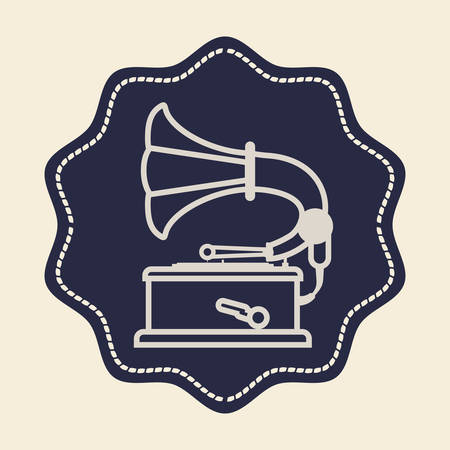 gramaphone: Retro concept with technology icons design, vector illustration  graphic. Illustration