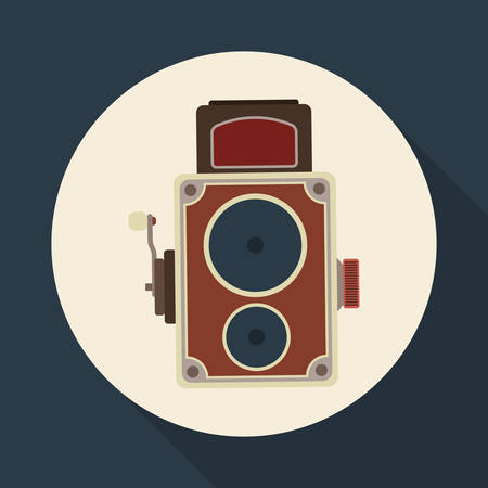 digicam: Retro concept with technology icons design, vector illustration   graphic.