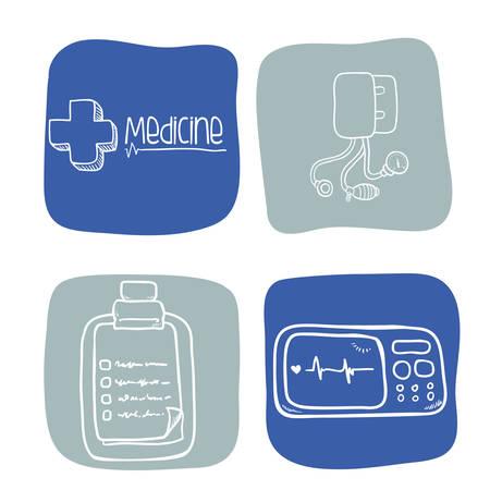 historia clinica: el concepto del cuidado médico con el diseño de iconos de la medicina