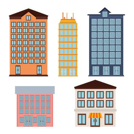 urbanization: Urban buildings graphic design, vector illustration