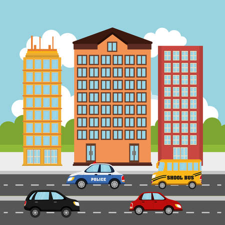 the traffic movement police: Cars in the city graphic design, vector illustration  Illustration