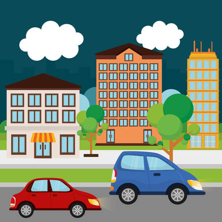 trees services: Cars in the city graphic design, vector illustration  Illustration