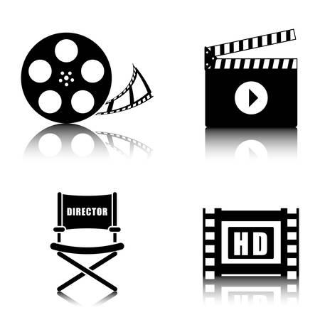 hd: Movie and videofilm entertainment graphic design, vector illustration Illustration
