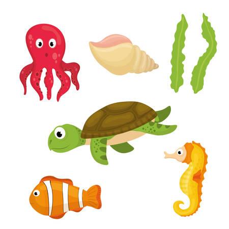 Sea fauna de dibujos animados, ilustración vectorial diseño gráfico