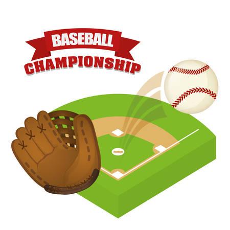 campo de beisbol: Juego de béisbol deporte diseño gráfico, ilustración vectorial Vectores