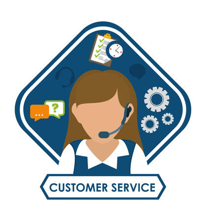 technical assistant: Customer service concept with social icons design, vector illustration 10 eps graphic.