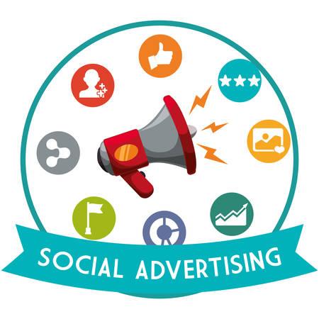 redes de mercadeo: concepto de publicidad social con el diseño de los iconos de la comercialización en línea, ilustración vectorial eps 10 gráfico.